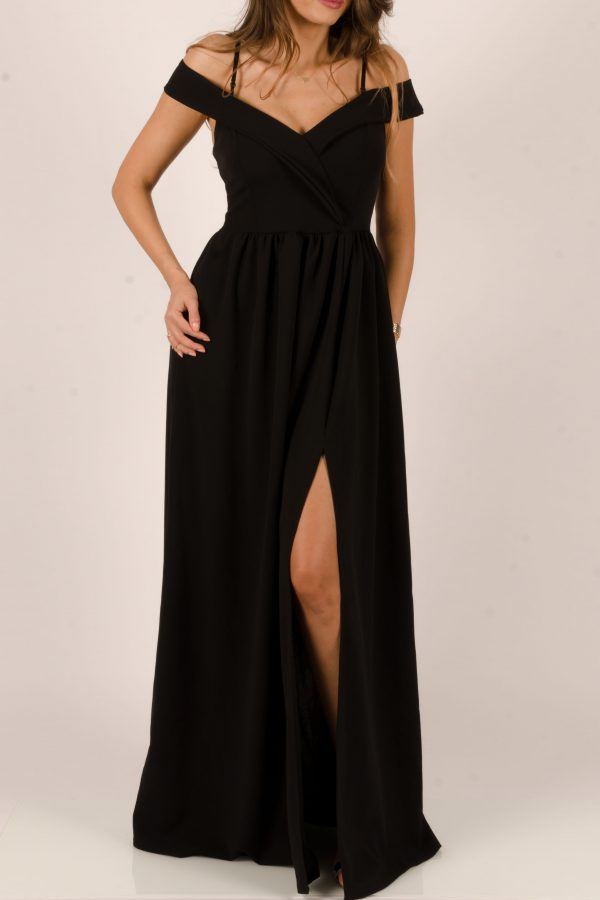 rochie lumga neagra cu bretele