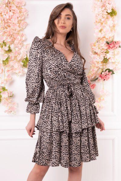 rochie volane animal print