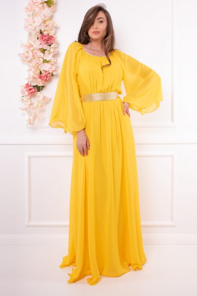 rochie lunga galbena