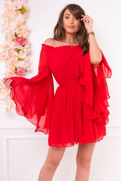 rochie rosie voal